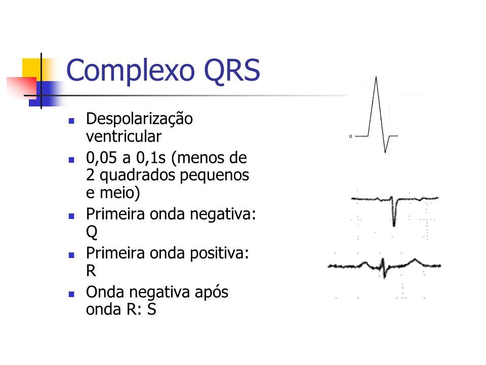 Complexo QRS Despolarização ventricular 0,05 a 0,1s (menos de 2 quadrados pequenos e meio) Primeira onda negativa: Q Primeira onda positiva: R Onda ne