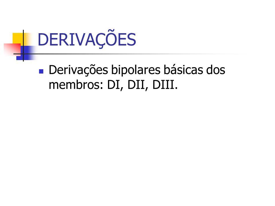 DERIVAÇÕES Derivações bipolares básicas dos membros: DI, DII, DIII.