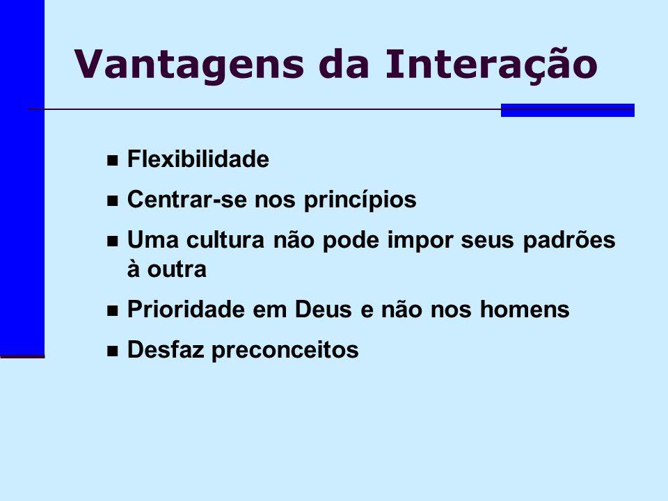 Vantagens da Interação Flexibilidade Centrar-se nos princípios Uma cultura não pode impor seus padrões à outra Prioridade em Deus e não nos homens Des