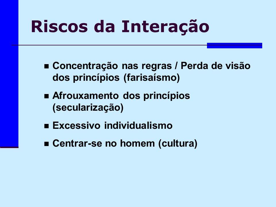 Riscos da Interação Concentração nas regras / Perda de visão dos princípios (farisaísmo) Afrouxamento dos princípios (secularização) Excessivo individ