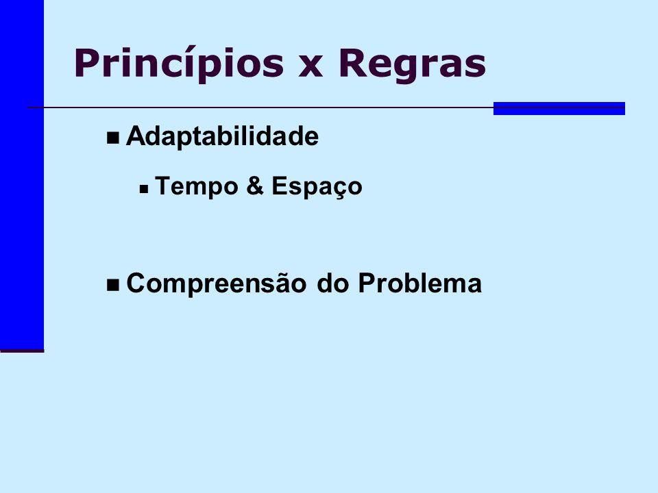Princípios x Regras Adaptabilidade Tempo & Espaço Compreensão do Problema