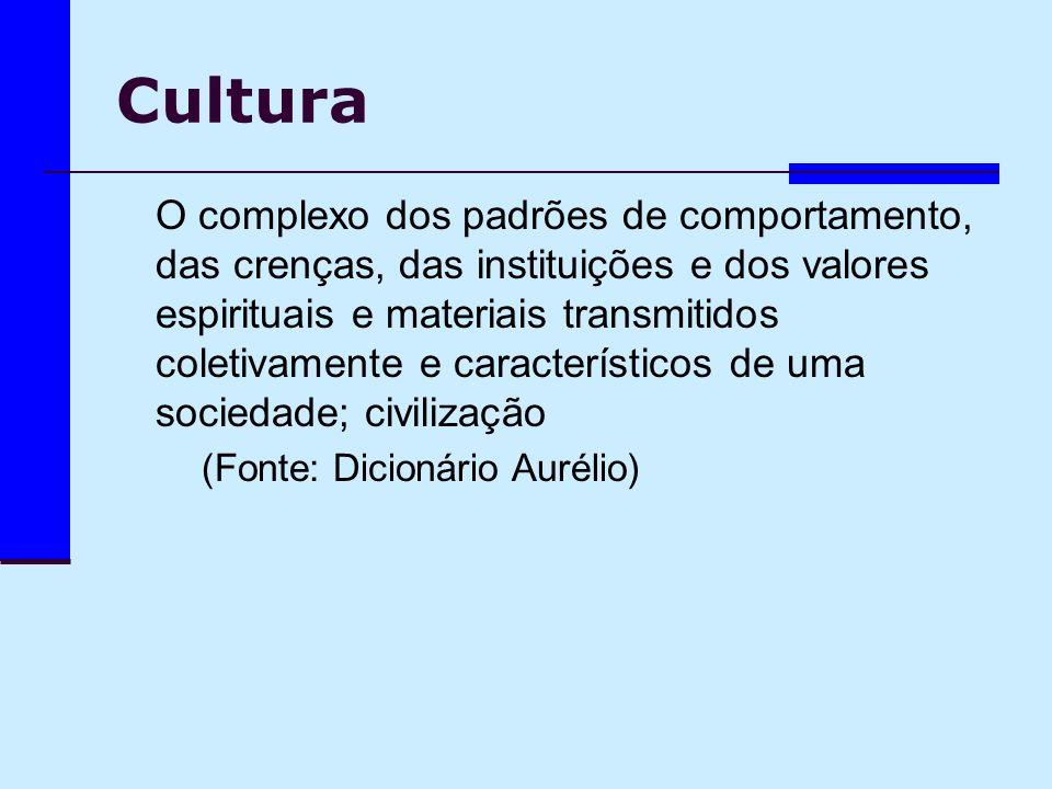 Cultura O complexo dos padrões de comportamento, das crenças, das instituições e dos valores espirituais e materiais transmitidos coletivamente e cara