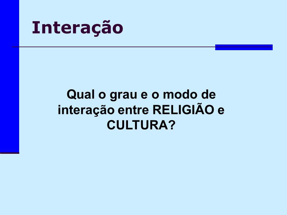 Interação Qual o grau e o modo de interação entre RELIGIÃO e CULTURA?