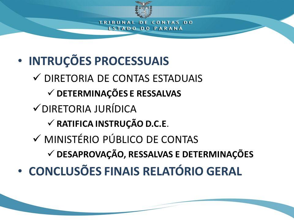INTRUÇÕES PROCESSUAIS DIRETORIA DE CONTAS ESTADUAIS DETERMINAÇÕES E RESSALVAS DIRETORIA JURÍDICA RATIFICA INSTRUÇÃO D.C.E. MINISTÉRIO PÚBLICO DE CONTA