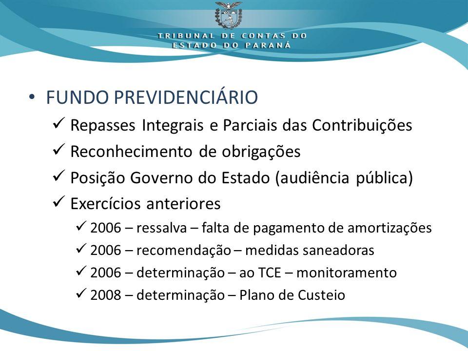 FUNDO PREVIDENCIÁRIO Repasses Integrais e Parciais das Contribuições Reconhecimento de obrigações Posição Governo do Estado (audiência pública) Exercí