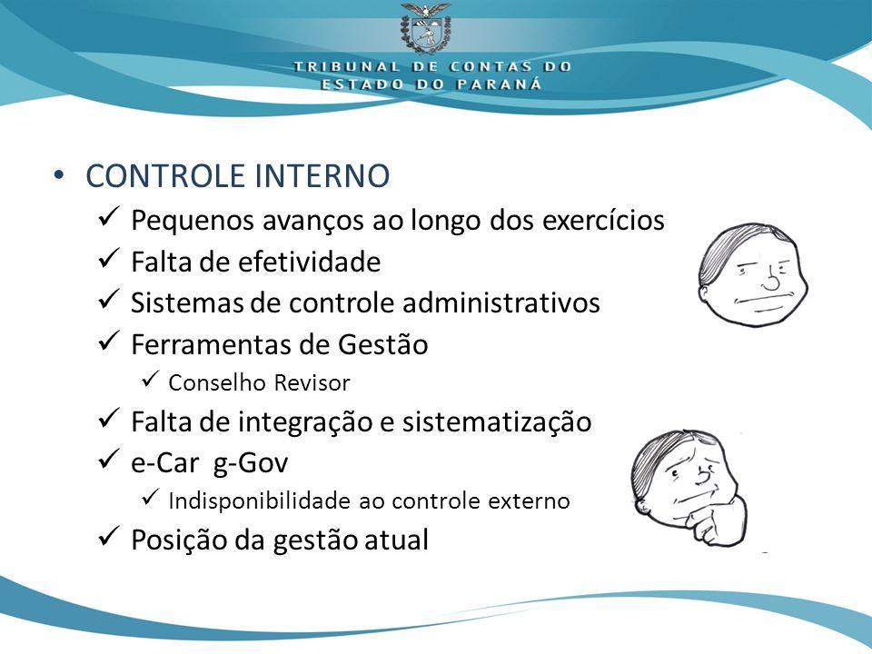 CONTROLE INTERNO Pequenos avanços ao longo dos exercícios Falta de efetividade Sistemas de controle administrativos Ferramentas de Gestão Conselho Rev