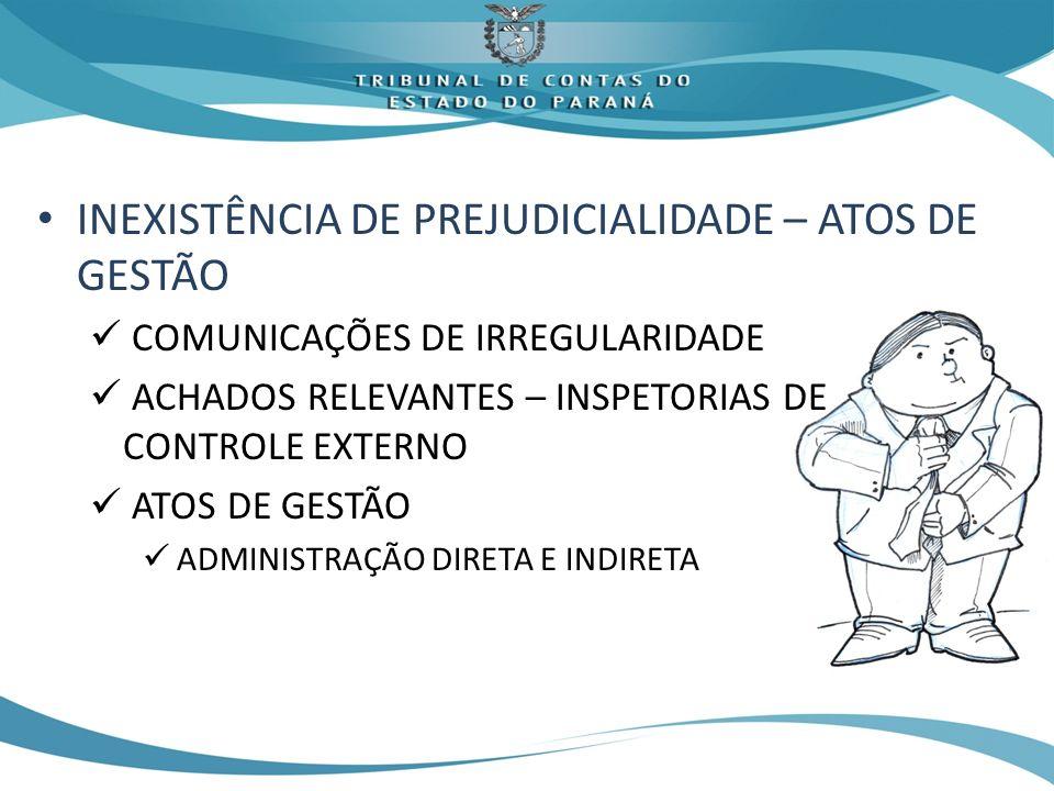 INEXISTÊNCIA DE PREJUDICIALIDADE – ATOS DE GESTÃO COMUNICAÇÕES DE IRREGULARIDADE ACHADOS RELEVANTES – INSPETORIAS DE CONTROLE EXTERNO ATOS DE GESTÃO ADMINISTRAÇÃO DIRETA E INDIRETA
