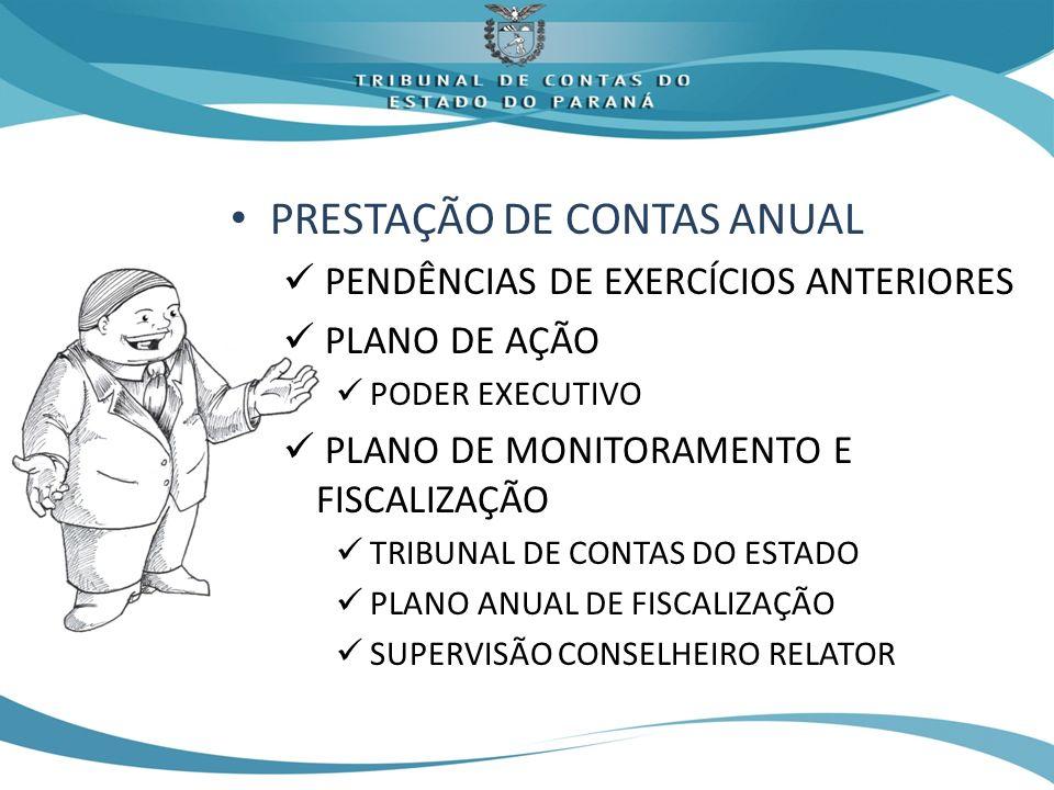 PRESTAÇÃO DE CONTAS ANUAL PENDÊNCIAS DE EXERCÍCIOS ANTERIORES PLANO DE AÇÃO PODER EXECUTIVO PLANO DE MONITORAMENTO E FISCALIZAÇÃO TRIBUNAL DE CONTAS DO ESTADO PLANO ANUAL DE FISCALIZAÇÃO SUPERVISÃO CONSELHEIRO RELATOR