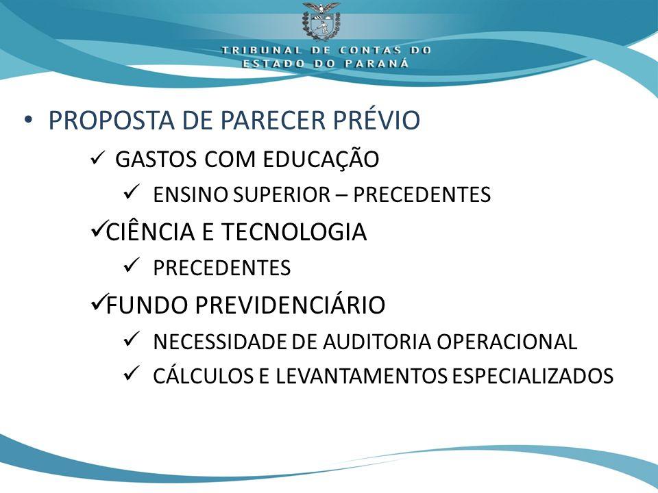 PROPOSTA DE PARECER PRÉVIO GASTOS COM EDUCAÇÃO ENSINO SUPERIOR – PRECEDENTES CIÊNCIA E TECNOLOGIA PRECEDENTES FUNDO PREVIDENCIÁRIO NECESSIDADE DE AUDITORIA OPERACIONAL CÁLCULOS E LEVANTAMENTOS ESPECIALIZADOS