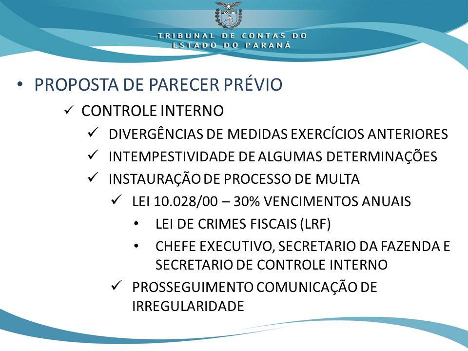 PROPOSTA DE PARECER PRÉVIO CONTROLE INTERNO DIVERGÊNCIAS DE MEDIDAS EXERCÍCIOS ANTERIORES INTEMPESTIVIDADE DE ALGUMAS DETERMINAÇÕES INSTAURAÇÃO DE PROCESSO DE MULTA LEI 10.028/00 – 30% VENCIMENTOS ANUAIS LEI DE CRIMES FISCAIS (LRF) CHEFE EXECUTIVO, SECRETARIO DA FAZENDA E SECRETARIO DE CONTROLE INTERNO PROSSEGUIMENTO COMUNICAÇÃO DE IRREGULARIDADE