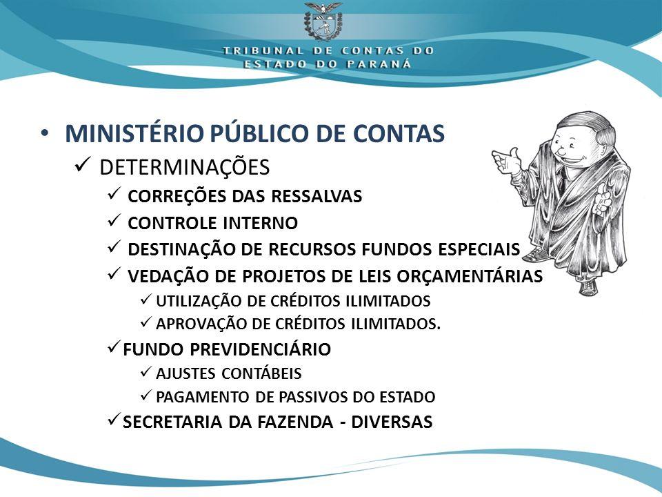 MINISTÉRIO PÚBLICO DE CONTAS DETERMINAÇÕES CORREÇÕES DAS RESSALVAS CONTROLE INTERNO DESTINAÇÃO DE RECURSOS FUNDOS ESPECIAIS VEDAÇÃO DE PROJETOS DE LEIS ORÇAMENTÁRIAS UTILIZAÇÃO DE CRÉDITOS ILIMITADOS APROVAÇÃO DE CRÉDITOS ILIMITADOS.