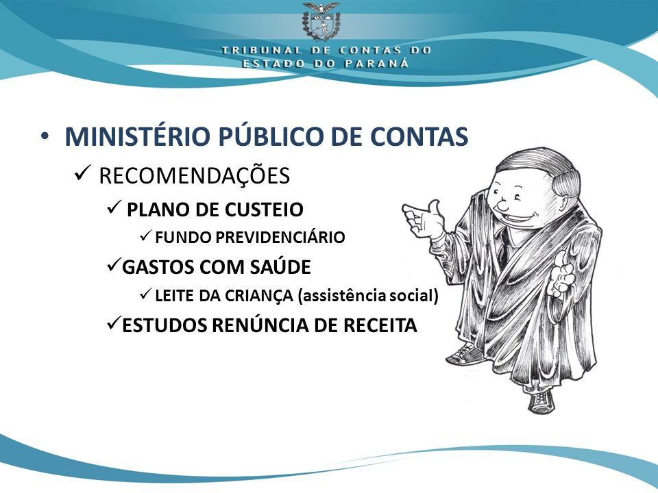 MINISTÉRIO PÚBLICO DE CONTAS RECOMENDAÇÕES PLANO DE CUSTEIO FUNDO PREVIDENCIÁRIO GASTOS COM SAÚDE LEITE DA CRIANÇA (assistência social) ESTUDOS RENÚNC