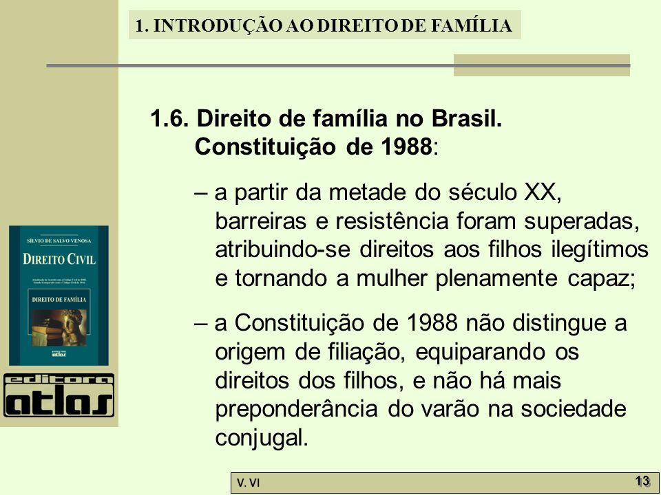 1. INTRODUÇÃO AO DIREITO DE FAMÍLIA V. VI 13 1.6. Direito de família no Brasil. Constituição de 1988: – a partir da metade do século XX, barreiras e r