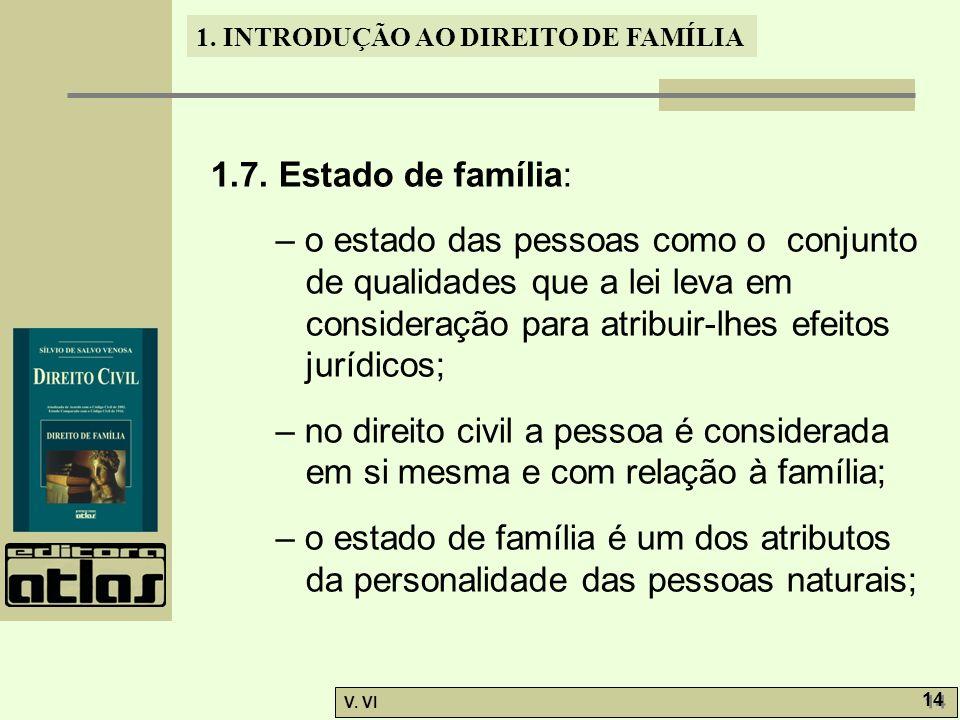 1. INTRODUÇÃO AO DIREITO DE FAMÍLIA V. VI 14 1.7. Estado de família: – o estado das pessoas como o conjunto de qualidades que a lei leva em consideraç