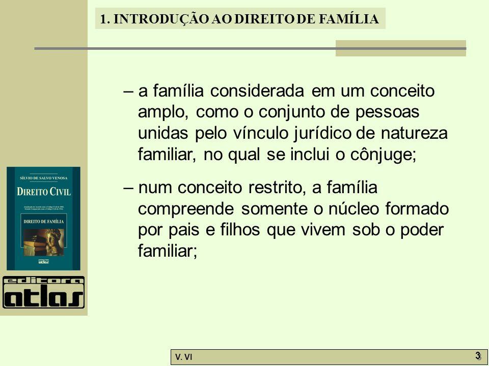 1. INTRODUÇÃO AO DIREITO DE FAMÍLIA V. VI 3 3 – a família considerada em um conceito amplo, como o conjunto de pessoas unidas pelo vínculo jurídico de