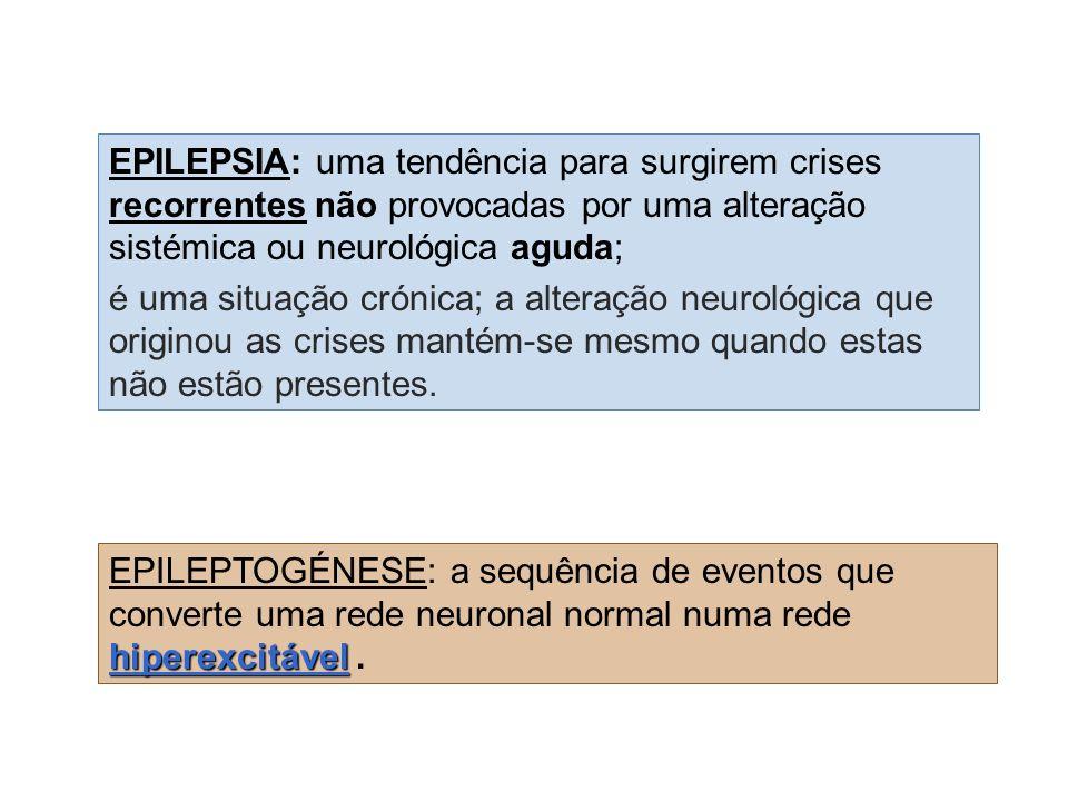 hiperexcitável EPILEPTOGÉNESE: a sequência de eventos que converte uma rede neuronal normal numa rede hiperexcitável.