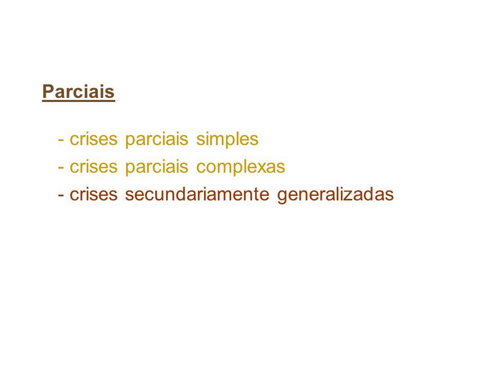 Parciais - crises parciais simples - crises parciais complexas - crises secundariamente generalizadas