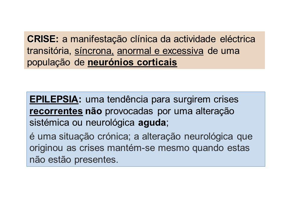 EPILEPSIA: uma tendência para surgirem crises recorrentes não provocadas por uma alteração sistémica ou neurológica aguda; é uma situação crónica; a alteração neurológica que originou as crises mantém-se mesmo quando estas não estão presentes.