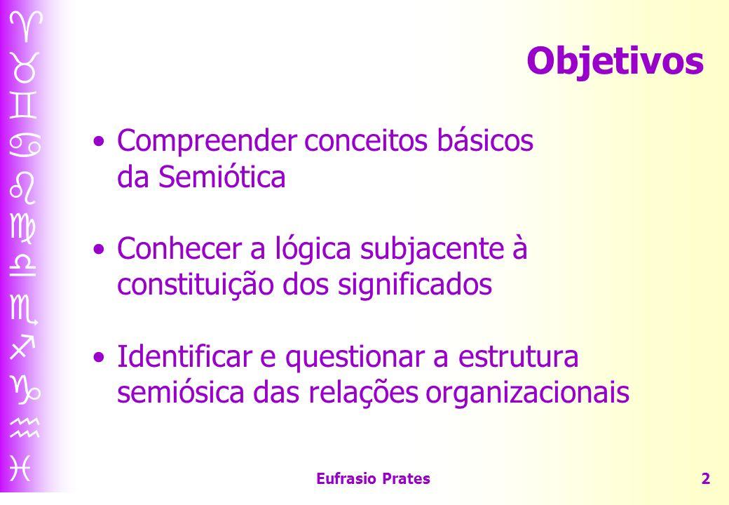Eufrasio Prates2 Objetivos Compreender conceitos básicos da Semiótica Conhecer a lógica subjacente à constituição dos significados Identificar e questionar a estrutura semiósica das relações organizacionais