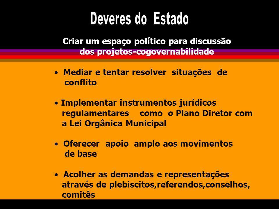 Criar um espaço político para discussão dos projetos-cogovernabilidade Mediar e tentar resolver situações de conflito Implementar instrumentos jurídic