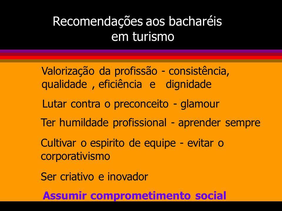 Recomendações aos bacharéis em turismo Valorização da profissão - consistência, qualidade, eficiência e dignidade Lutar contra o preconceito - glamour