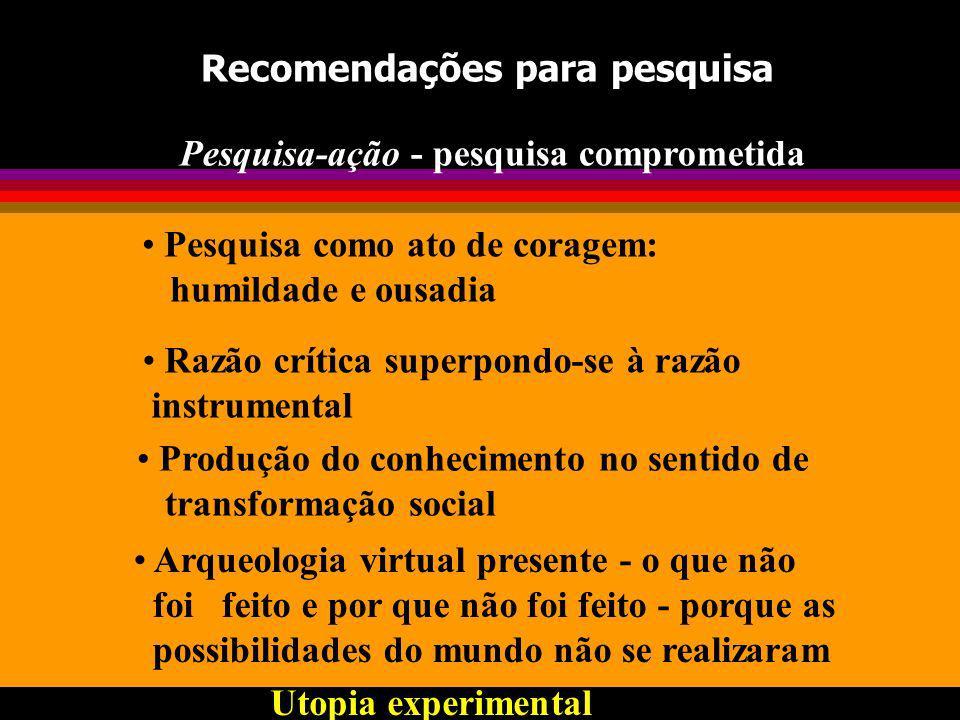 Recomendações para pesquisa Pesquisa-ação - pesquisa comprometida Razão crítica superpondo-se à razão instrumental Produção do conhecimento no sentido