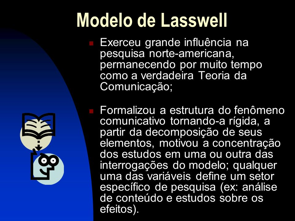Modelo de Lasswell Exerceu grande influência na pesquisa norte-americana, permanecendo por muito tempo como a verdadeira Teoria da Comunicação; Formal