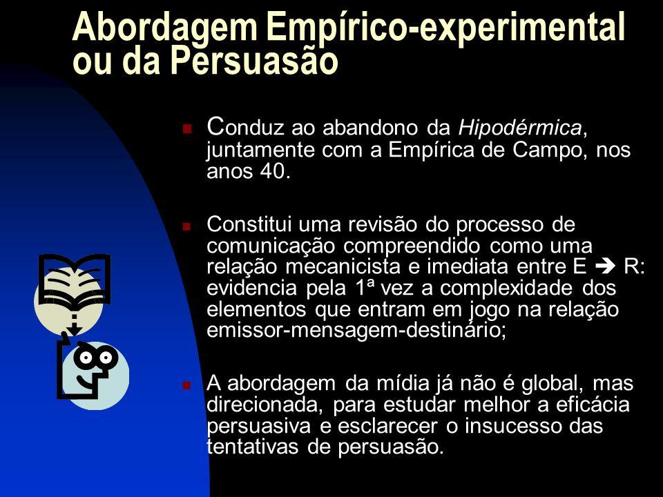 Abordagem Empírico-experimental ou da Persuasão C onduz ao abandono da Hipodérmica, juntamente com a Empírica de Campo, nos anos 40. Constitui uma rev