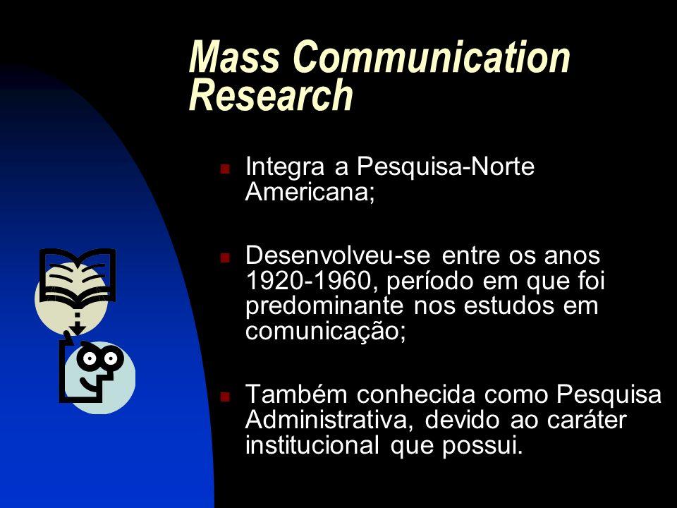 Mass Communication Research Integra a Pesquisa-Norte Americana; Desenvolveu-se entre os anos 1920-1960, período em que foi predominante nos estudos em