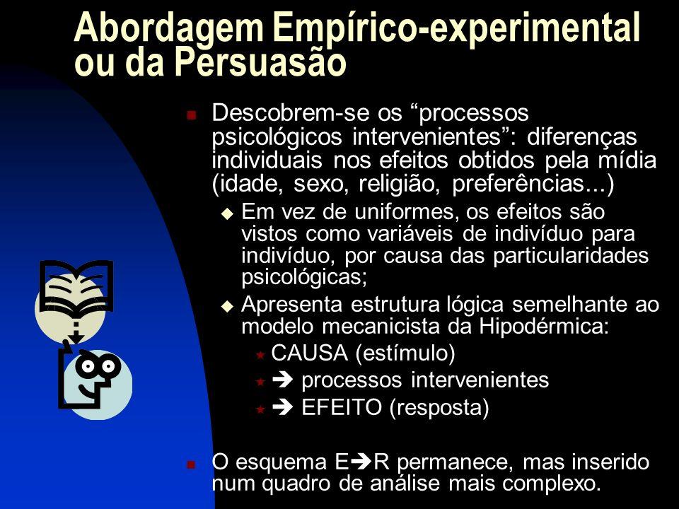 Abordagem Empírico-experimental ou da Persuasão Descobrem-se os processos psicológicos intervenientes: diferenças individuais nos efeitos obtidos pela