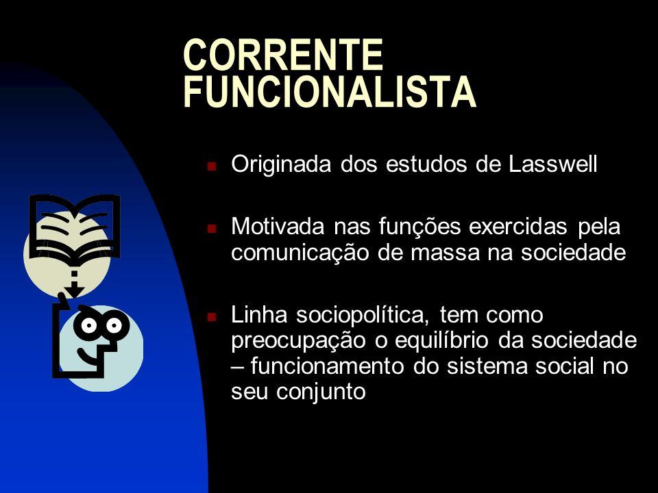 CORRENTE FUNCIONALISTA Originada dos estudos de Lasswell Motivada nas funções exercidas pela comunicação de massa na sociedade Linha sociopolítica, te