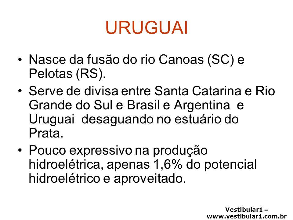 Vestibular1 – www.vestibular1.com.br URUGUAI Nasce da fusão do rio Canoas (SC) e Pelotas (RS). Serve de divisa entre Santa Catarina e Rio Grande do Su
