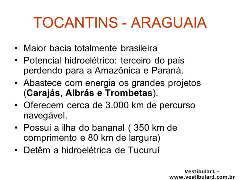 Vestibular1 – www.vestibular1.com.br TOCANTINS - ARAGUAIA Maior bacia totalmente brasileira Potencial hidroelétrico: terceiro do país perdendo para a