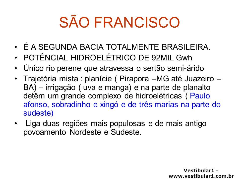 Vestibular1 – www.vestibular1.com.br SÃO FRANCISCO É A SEGUNDA BACIA TOTALMENTE BRASILEIRA. POTÊNCIAL HIDROELÉTRICO DE 92MIL Gwh Único rio perene que