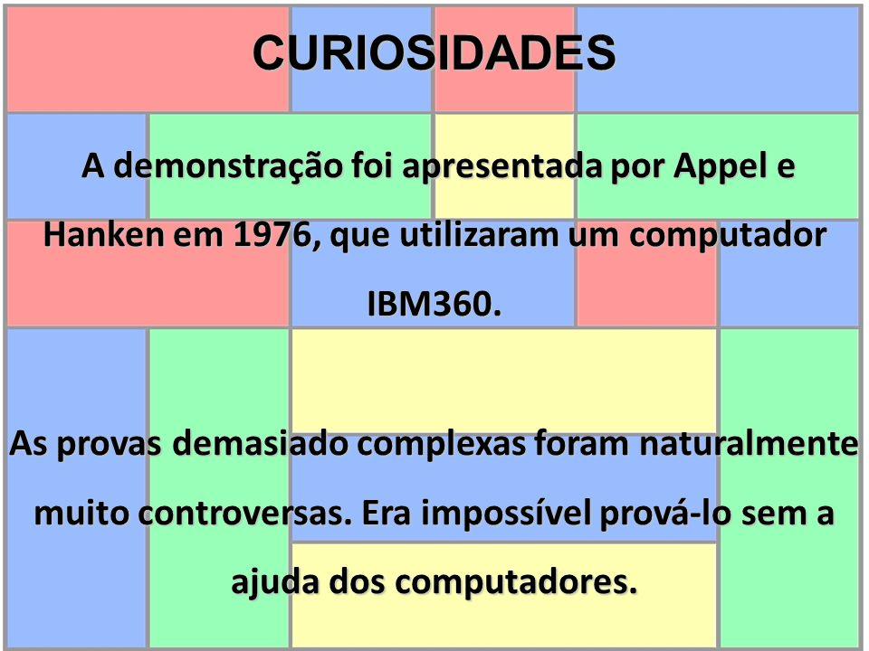 CURIOSIDADES A demonstração foi apresentada por Appel e Hanken em 1976, que utilizaram um computador IBM360. A demonstração foi apresentada por Appel