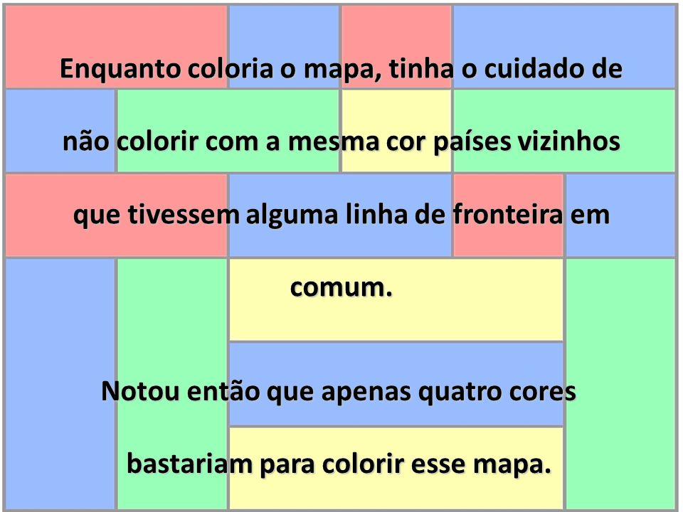 Enquanto coloria o mapa, tinha o cuidado de não colorir com a mesma cor países vizinhos que tivessem alguma linha de fronteira em comum. Notou então q