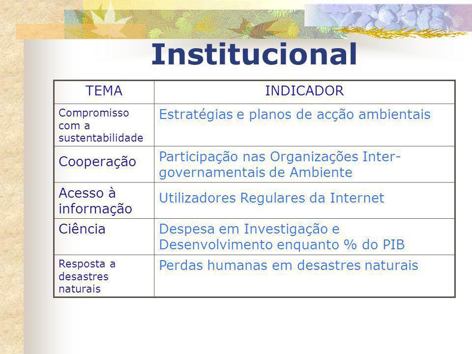 Institucional TEMAINDICADOR Compromisso com a sustentabilidade Estratégias e planos de acção ambientais Cooperação Participação nas Organizações Inter