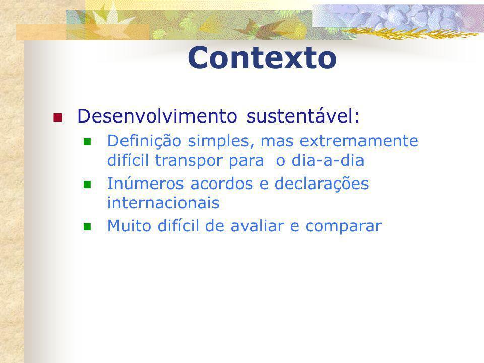 Contexto Desenvolvimento sustentável: Definição simples, mas extremamente difícil transpor para o dia-a-dia Inúmeros acordos e declarações internacion
