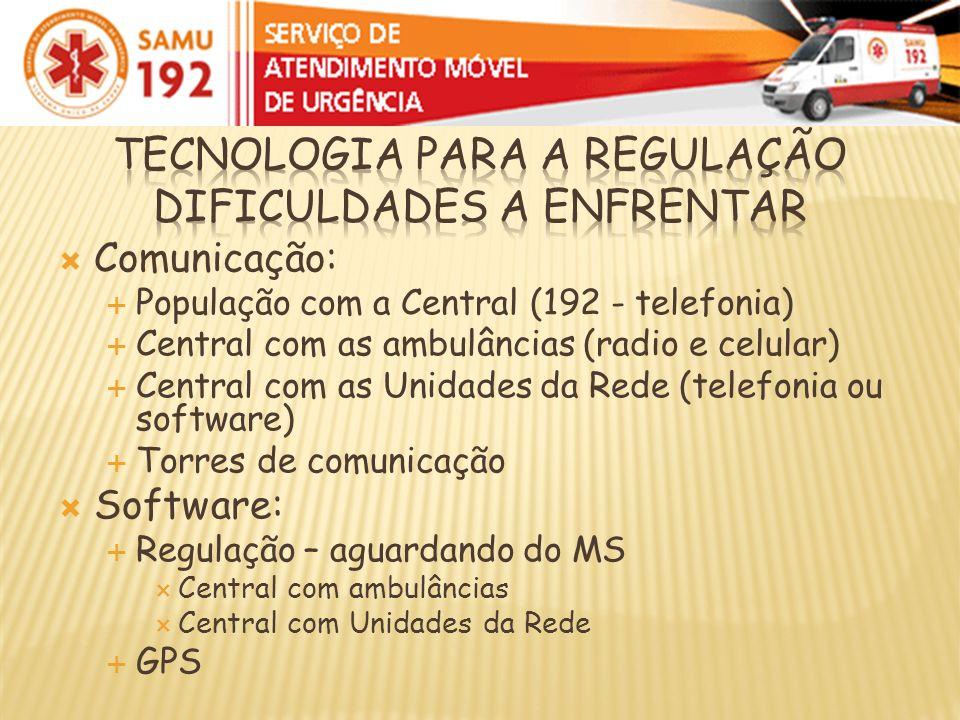 Comunicação: População com a Central (192 - telefonia) Central com as ambulâncias (radio e celular) Central com as Unidades da Rede (telefonia ou soft