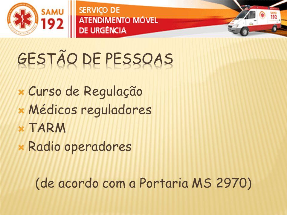 Curso de Regulação Médicos reguladores TARM Radio operadores (de acordo com a Portaria MS 2970)