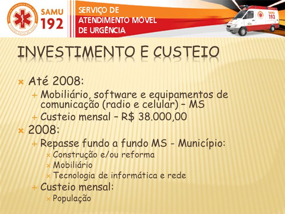 Até 2008: Mobiliário, software e equipamentos de comunicação (radio e celular) – MS Custeio mensal – R$ 38.000,00 2008: Repasse fundo a fundo MS - Mun
