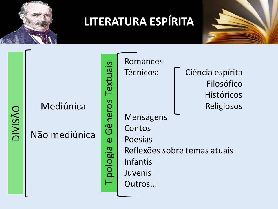 LITERATURA ESPÍRITA Mediúnica Não mediúnica Romances Técnicos: Ciência espírita Filosófico Históricos Religiosos Mensagens Contos Poesias Reflexões so