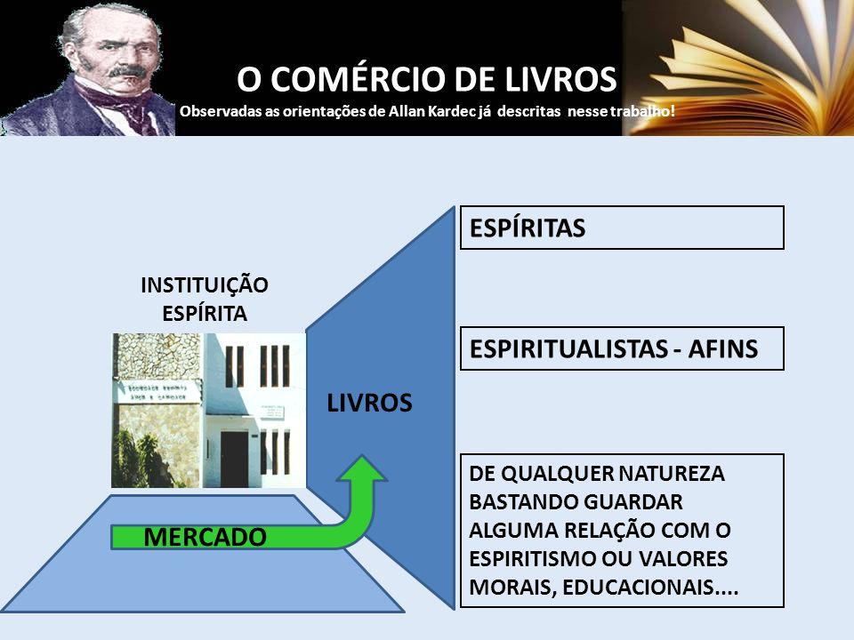 O COMÉRCIO DE LIVROS Observadas as orientações de Allan Kardec já descritas nesse trabalho! ESPÍRITAS ESPIRITUALISTAS - AFINS DE QUALQUER NATUREZA BAS