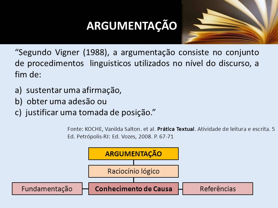 Segundo Vigner (1988), a argumentação consiste no conjunto de procedimentos linguisticos utilizados no nível do discurso, a fim de: a) sustentar uma afirmação, b) obter uma adesão ou c) justificar uma tomada de posição.