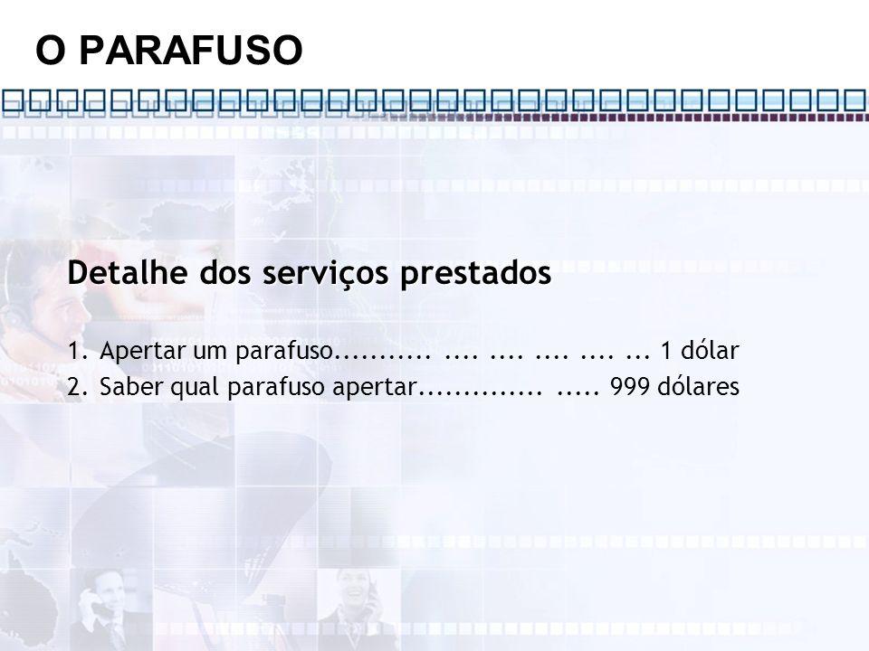 O PARAFUSO Detalhe dos serviços prestados 1.Apertar um parafuso.............................. 1 dólar 2.Saber qual parafuso apertar...................