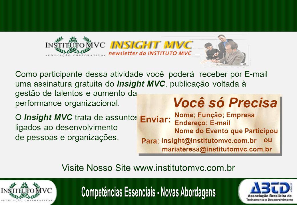 Como participante dessa atividade você poderá receber por E-mail uma assinatura gratuita do Insight MVC, publicação voltada à gestão de talentos e aumento da performance organizacional.