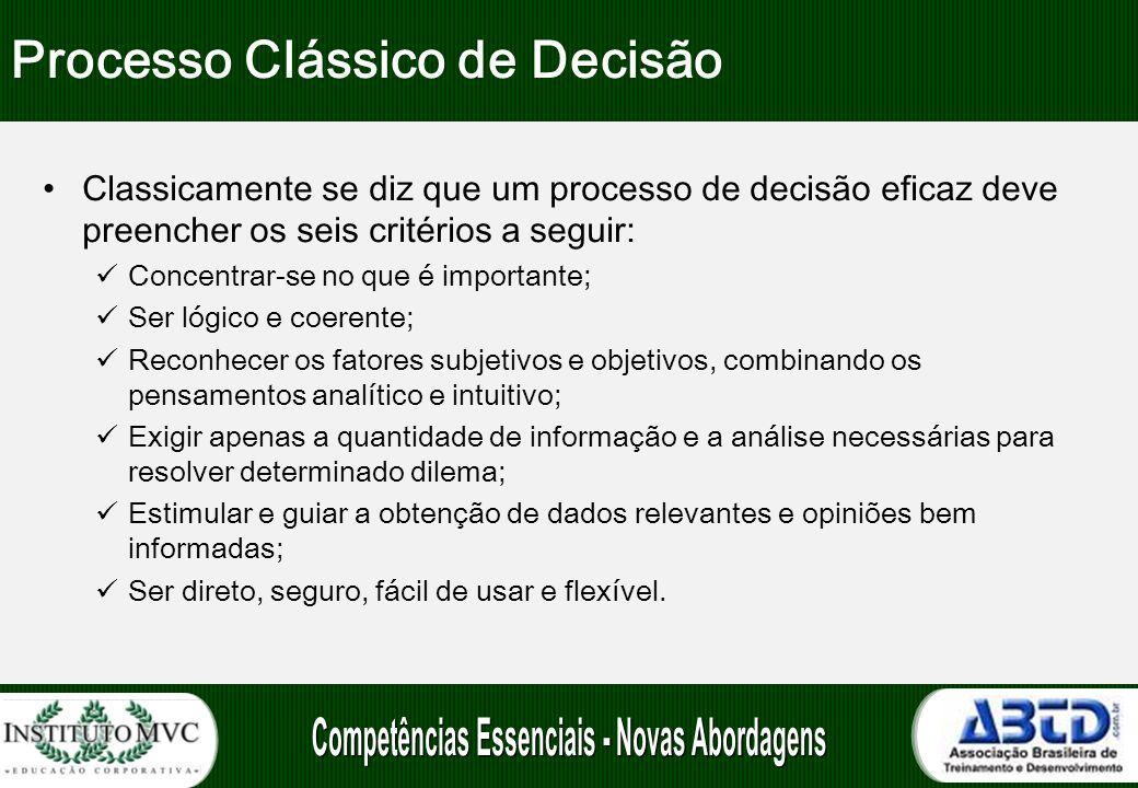 Processo Clássico de Decisão Classicamente se diz que um processo de decisão eficaz deve preencher os seis critérios a seguir: Concentrar-se no que é