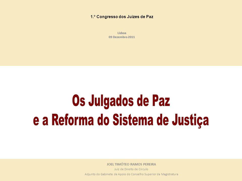 JOEL TIMÓTEO RAMOS PEREIRA Juiz de Direito de Círculo Adjunto do Gabinete de Apoio do Conselho Superior da Magistratura 1.º Congresso dos Juízes de Pa