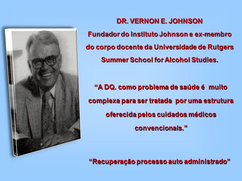DR. VERNON E. JOHNSON Fundador do Instituto Johnson e ex-membro do corpo docente da Universidade de Rutgers Summer School for Alcohol Studies. Recuper