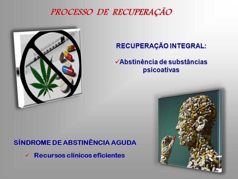 PROCESSO DE RECUPERAÇÃO SÍNDROME DE ABSTINÊNCIA AGUDA Recursos clínicos eficientes Recursos clínicos eficientes RECUPERAÇÃO INTEGRAL: Abstinência de s